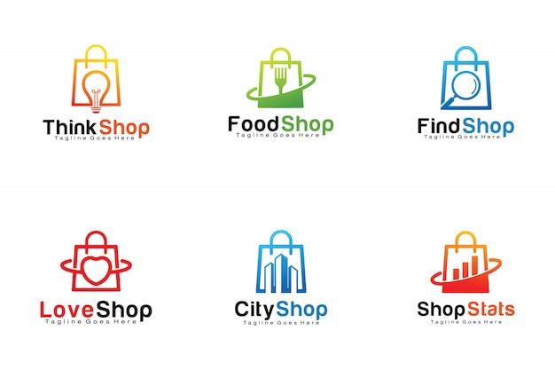 Set of shopping bags logos