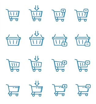 Set of shopping cart icons with outline style