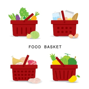 Set of shopping food baskets of organic and healthy food at supermarket. vegetable, fruit, fresh meat and dairy product food. flat icons cartoon  illustration.