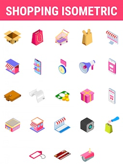 Set of shopping isometric icon.