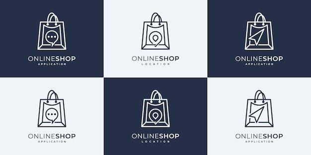 Set of shopping logo design templates