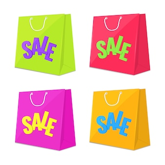 Set of shopping sale bag icons.