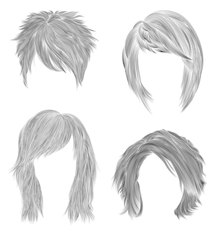 Установите короткие и средние женские волосы. черный карандашный рисунок эскиз. женская мода стиль красоты. бахрома кудри каскад растрепанный уход.