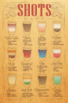 Set of shots menu with a shots drinks with names in vintage style stylized drawing with craft