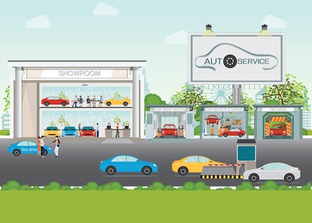 Set of showroom car service station