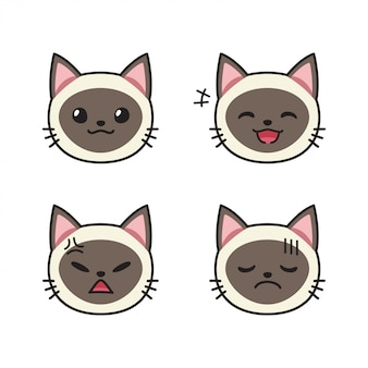 Set of siamese cat faces showing different emotions