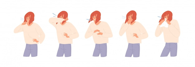 Set of sick woman sneezing, coughing and blow her nose flat illustration.