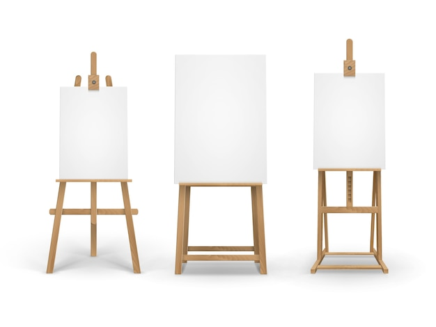 Set of sienna wooden easels with empty canvases
