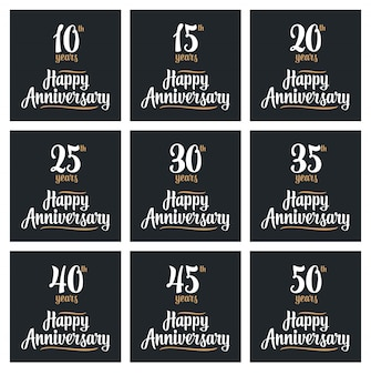 Set sign for happy anniversary.