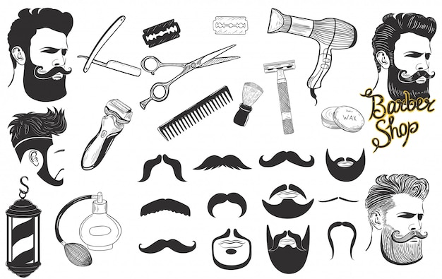 Set of signs and icons for barbershop isolated on a white background.  graphics.