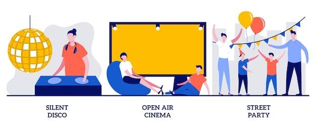 Set of silent disco, open air cinema, street party, city entertainment
