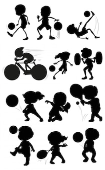 Set of silhouette athlete character