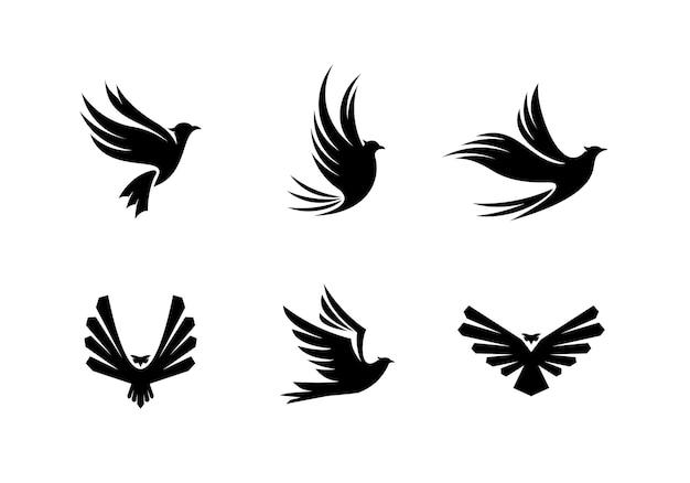 Set of silhouette bird logo design collection