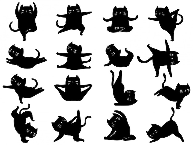Set of silhouette cat yoga. collection of various kitten yoga poses and exercises.