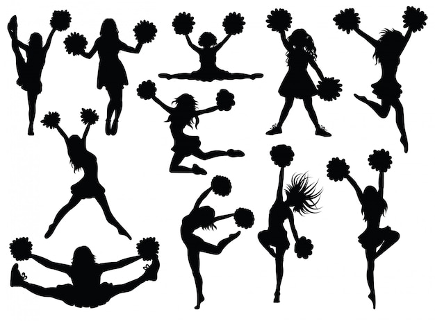 Premium Vector Set Of Silhouette Cheerleaders Download these cheerleader silhouette background or photos and you can use them for many purposes, such as. premium vector set of silhouette