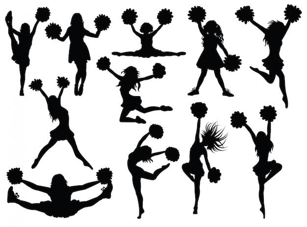 Set of silhouette cheerleaders.