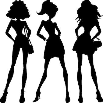 Установить силуэт модные девушки топ-модели