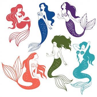 Set of silhouette mermaids. collection of stylized mermaids.