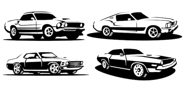 Set of silhouette muscle cars