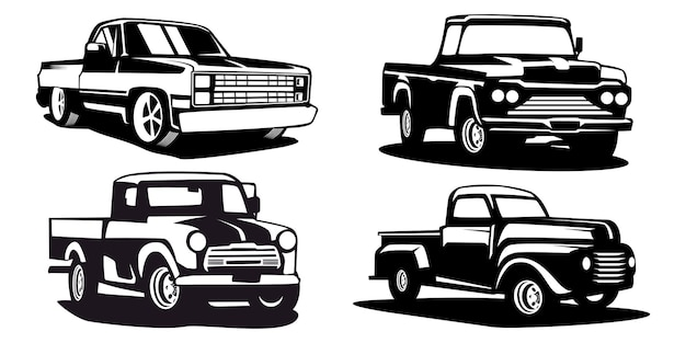 Set of silhouette pick up truck, truck