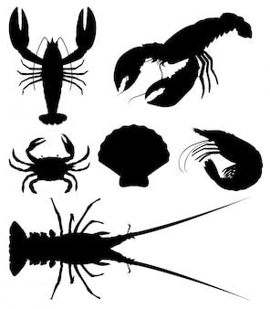 Set di frutti di mare silhouette