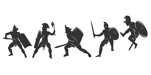 Set of silhouette spartan or gladiator fighter