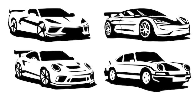 Set of silhouette sport cars