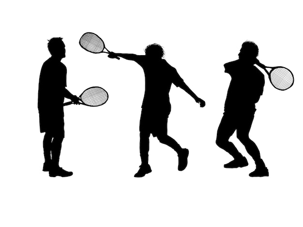 Set silhouette of a tennis player on white background