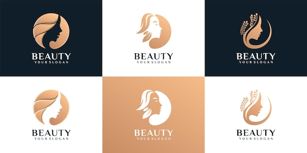 Set of silhouette woman face feminine lifestyle salon Premium Vector