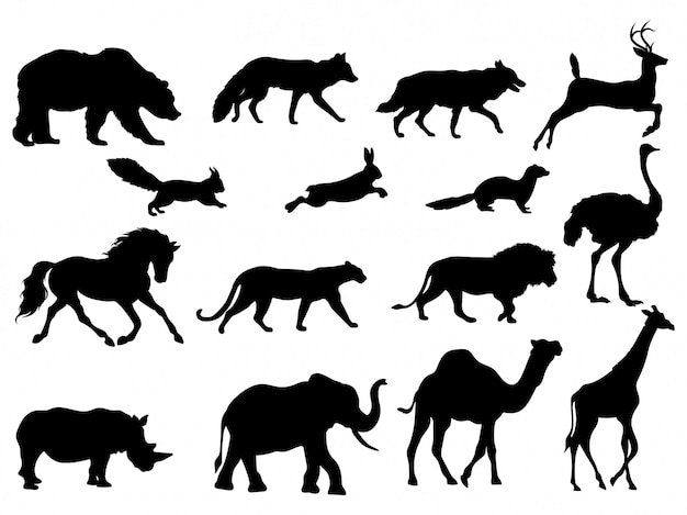 Set of silhouettes animals. collection of animals.