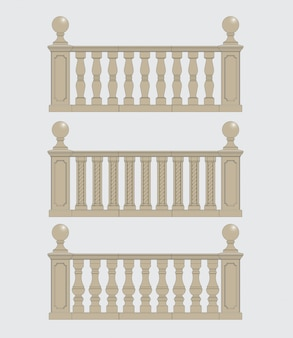 Set  of silhouettes balustrades