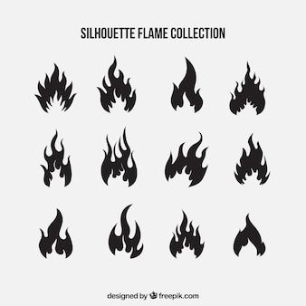 Set of silhouettes of flames