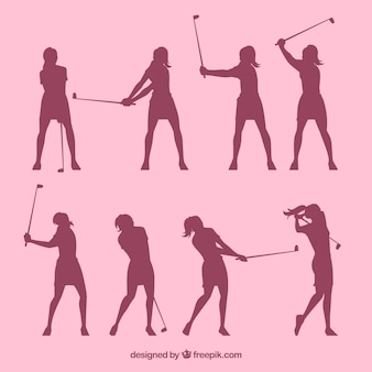 Set of silhouettes golf women