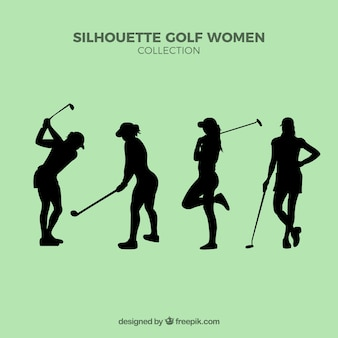 Set of silhouettes golf women
