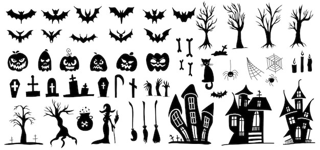 Set of silhouettes of halloween doodle style vector on a white background.