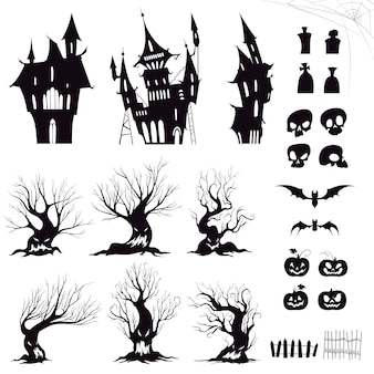 Set of silhouettes for halloween gloomy house, sinister trees, fences, graves, skulls, pumpkins and bats.