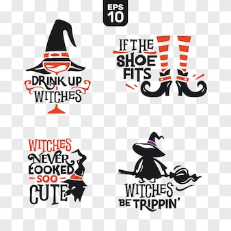 Set of silhouettes halloween icons with quote for party decoration and cutting sticker