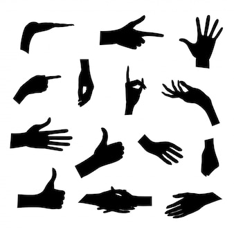 Set of silhouettes of hands in different poses  on white background.  illustration. collection emotions, signs. holding hands.