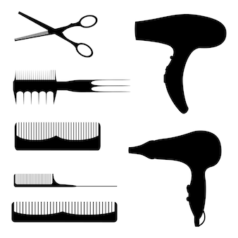 Set of silhouettes of items for beauty salons, beauty shops on white background. vector illustration. cartoon style.