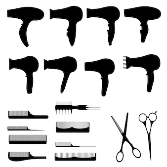 Set of silhouettes of items for beauty salons