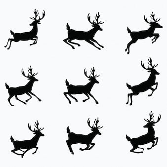 Set of silhouettes of running deer. collection of christmas deer.  illustration.