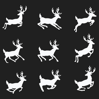 A set of silhouettes of running deer. collection of christmas deer. leaping deer santa.