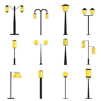 Set of silhouettes of street lanterns. lighting. flat style. yellow lamp light. lamppost. collection of outdoor elements. vector illustration.