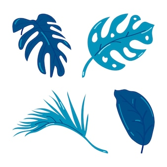 Set of silhouettes of tropical leaves isolated on white