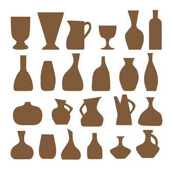 A set of silhouettes of vases and pots of various shapes