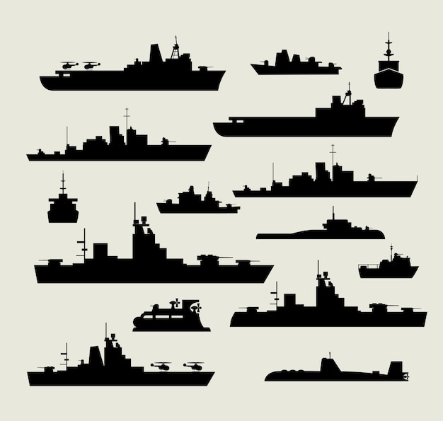 A set of silhouettes of warships for design and creativity