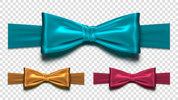 Set of silk bow. collection realistic bows isolated on transparent background