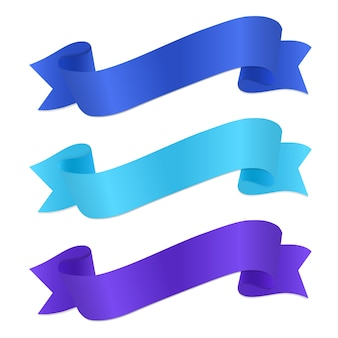 Set of silk ribbons with shadow