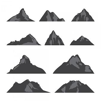 セットsillhouette山ベクトルイラスト