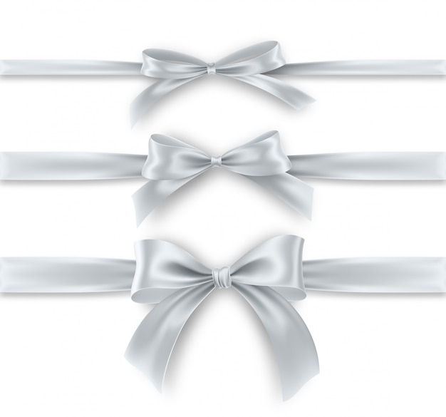 Set silver bow and ribbon on white background. realistic silver bow.